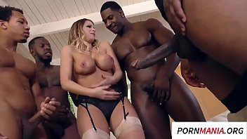 A Blonde Girl Is Fucking With 4 Black Men, A Suit In The Dicks Out Of Their
