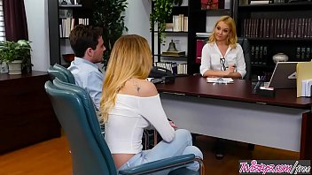 Sex Therapy In The Office With Two Nymphomaniac Blondes
