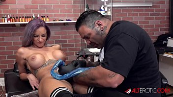 Tattooed Pussy Sucks Cock And Swallows Cum